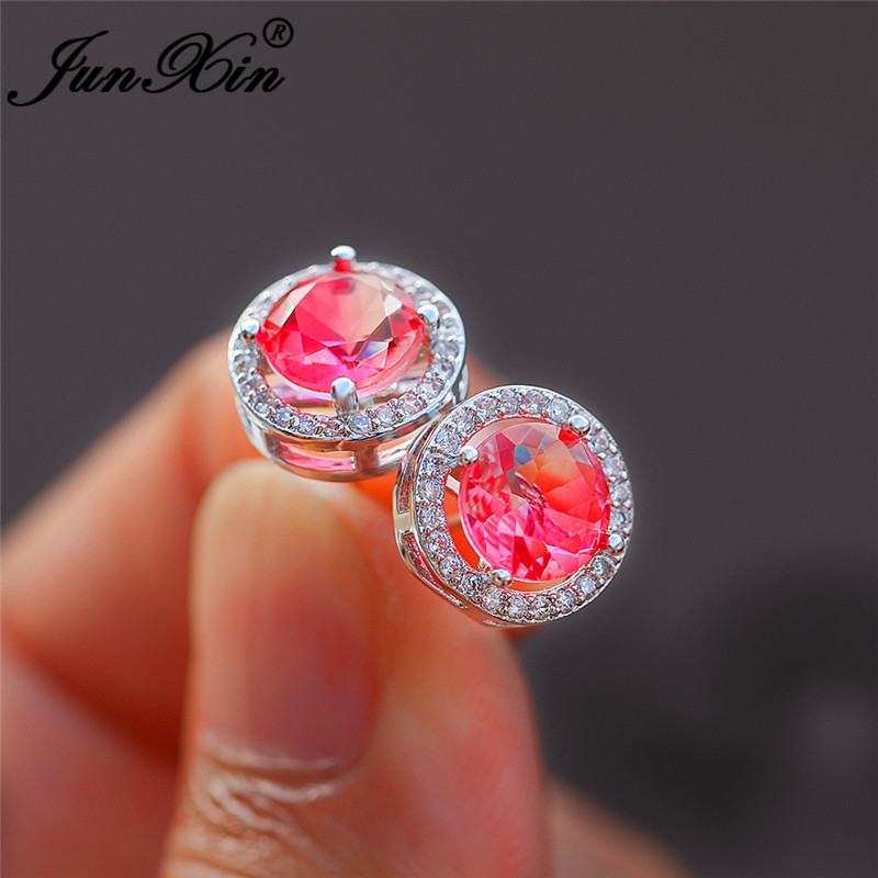 Bicolor Pink White Rainbow Fire Crystal Round Stud Earrings For Women White Gold Colorful Zircon Mystic Stone Wedding Earrings