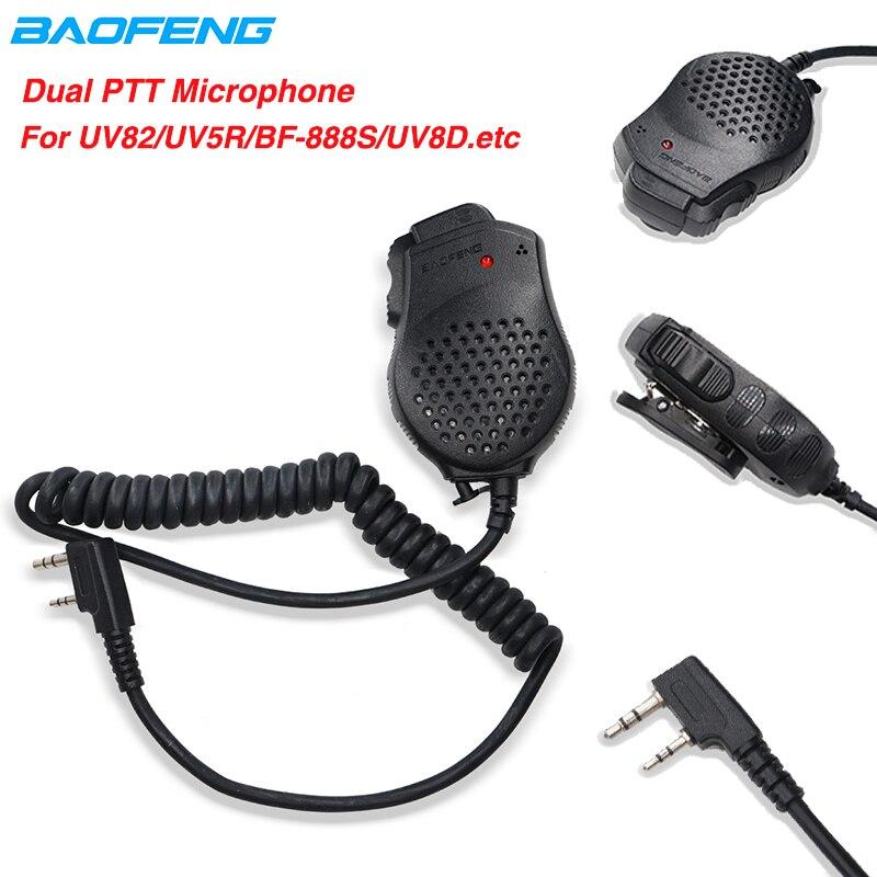 Original Baofeng 2 Dual PTT Speaker Mic Microphone For Walkie Talkie UV-82 UV82hp BF-888S UV-5R Kenwood Radio Accessories