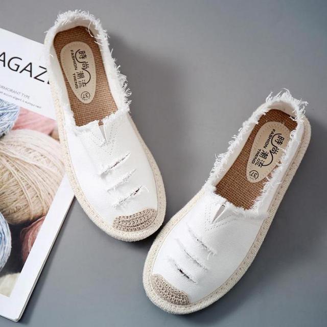 Kobiety mieszkania balerinki Slip On w stylu Casual, damska na płótnie buty mokasyny oddychające kobiet espadryle jazdy obuwie Zapatos Muje
