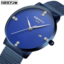 NIBOSI Mens Watches New Luxury Brand Watch Men Fashion Sports Quartz Watch Stainless Steel Mesh Strap Ultra Thin Dial Date clock carnival brand quartz watch women classic retro roman numeral dial ultra thin full stainless steel casual lady clock new