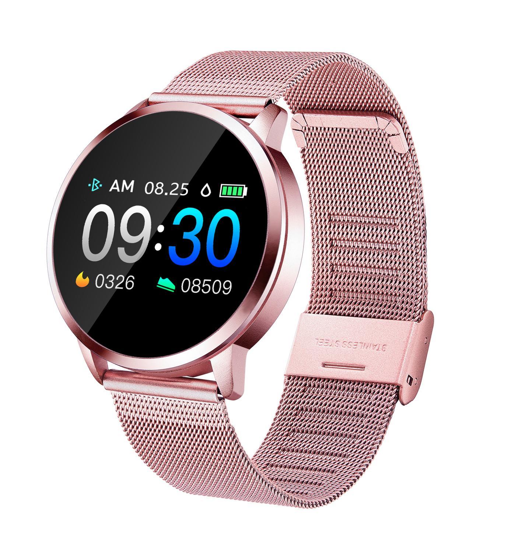 Nova Q8 Dispositivo Wearable Smartwatch Bluetooth Relógio Inteligente Relógio de Aço Inoxidável À Prova D' Água Relógio de Pulso Das Mulheres Dos Homens de Fitness Rastreador