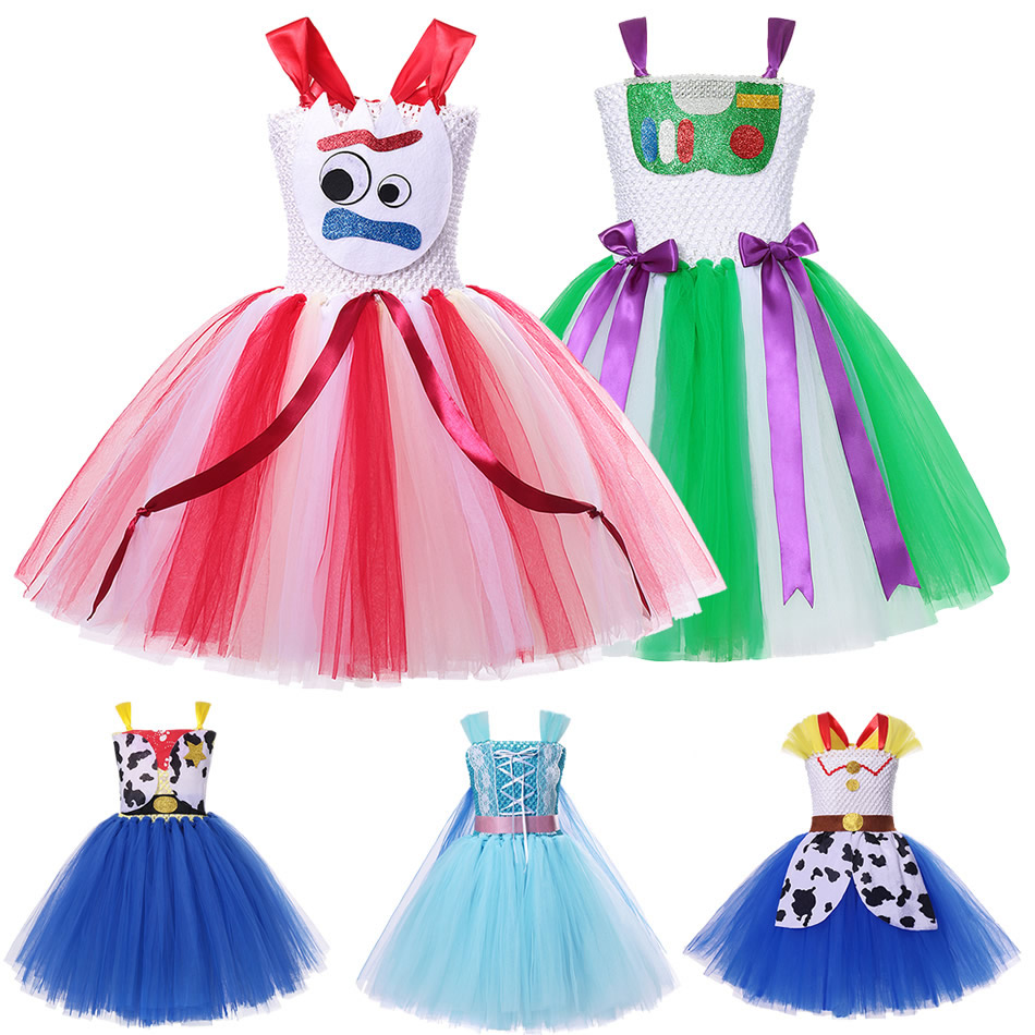 Girls Toy Story 4 Forky Cosplay Dress Woody Jessie Makeup Tutu Baby Girl Cartoon Role Playing Halloween Buzz Lightyear Costumes 1