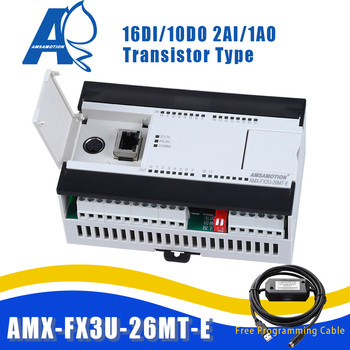 AMX-FX3U-26MT Compatible Mitsubishi MELSEC Series PLC Transistor 2AI/1AO 16DI/10DO Ethernet MODBUS Programmable Controller 16 transistor output switch quantity isolation 16di digital input rs485 modbus communication