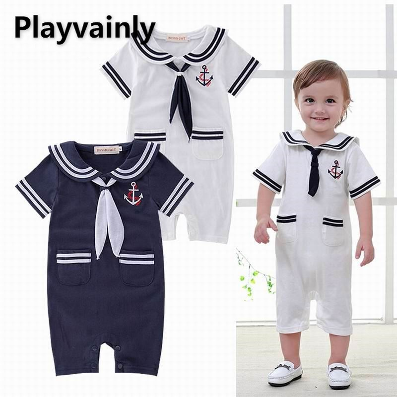 Летний комбинезон для маленьких мальчиков, новинка 2021, хлопковый комбинезон с матросским воротником и короткими рукавами, одежда для малыш...