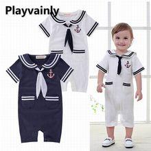 Bebê menino verão macacão 2021 nova gola de marinheiro manga curta algodão macacão da criança roupas e13255