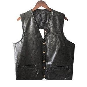 Image 2 - Leather Jacket Hot Sale Vest Mens Sleeveless Punk Pocket Loose Fit Black Brand Motorcycle Waistcoat Coats PU Male Streetwear