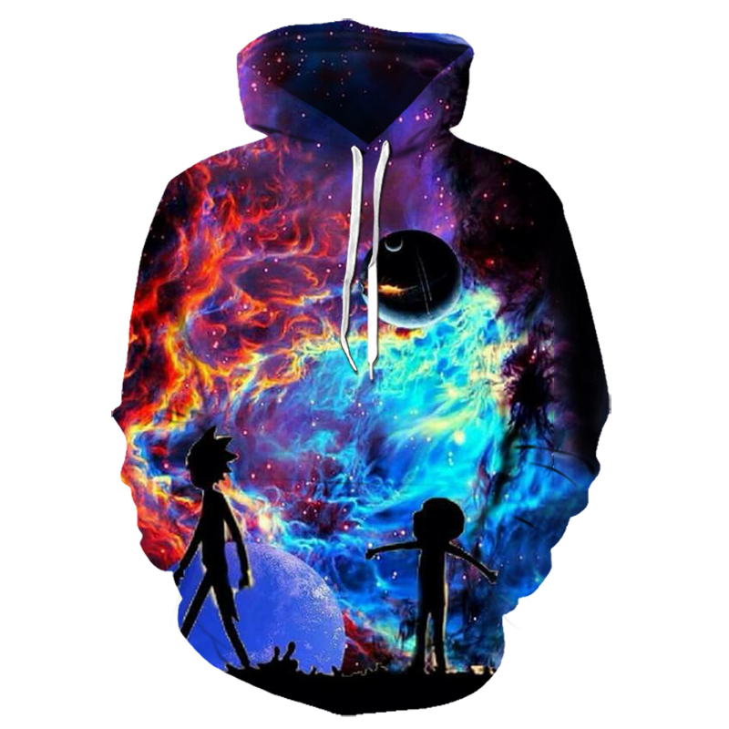 Hoodies Anime Rick And Morty 3D Print Hoodies With Hat Men Hoodie Loose Hooded Sweatshirt Sudaderas Para Hombre Streetwear 6XL