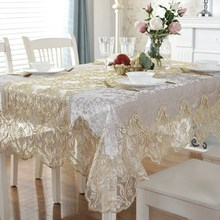 Europe luxury embroidered table dining table cover table cloth Golden velvet gold flower Lace TV cabinet tablecloth HM1868