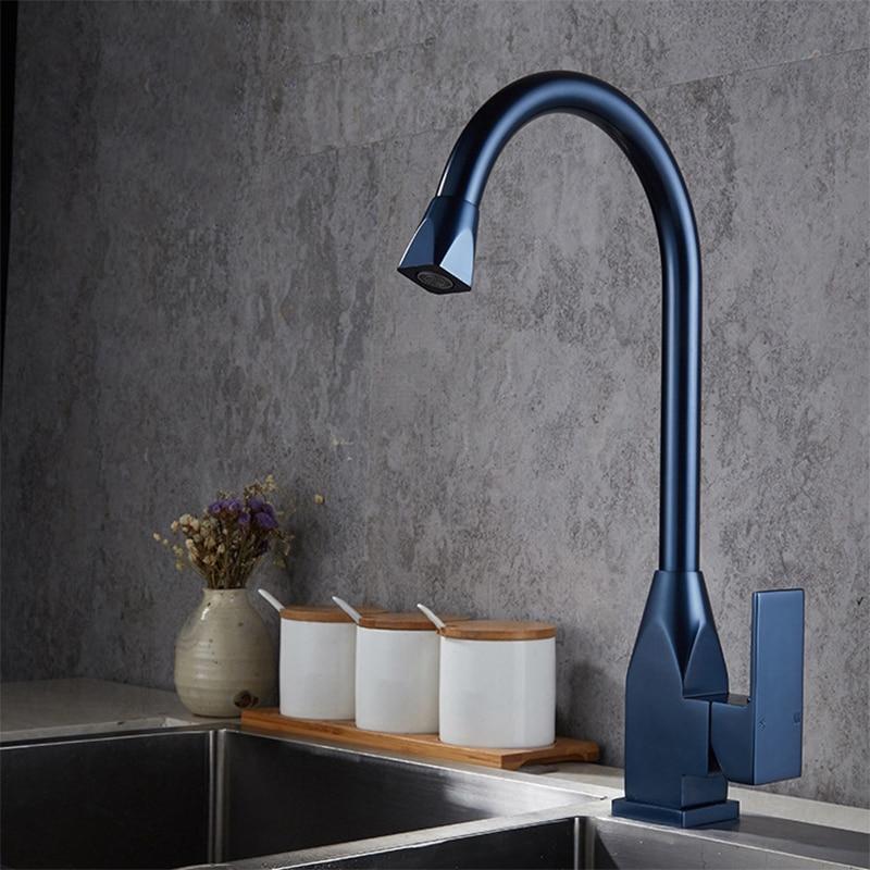 BiNFU cuisine robinet finition de Surface 360 rotation noir/or/bleu mélangeur robinet pour cuisine en caoutchouc conception chaude et froide pont montage