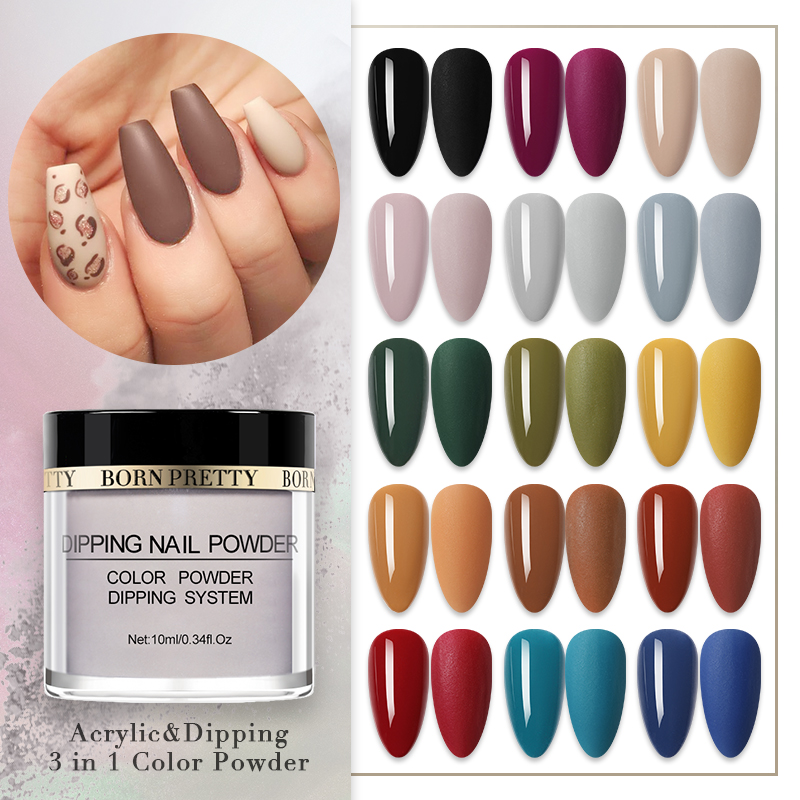 BORN PRETTY Dipping Nail Powder 3 In 1 Acrylic Glitter Carving Extension Nail Glitter Dust Power Matte Effect Nail Art Decor