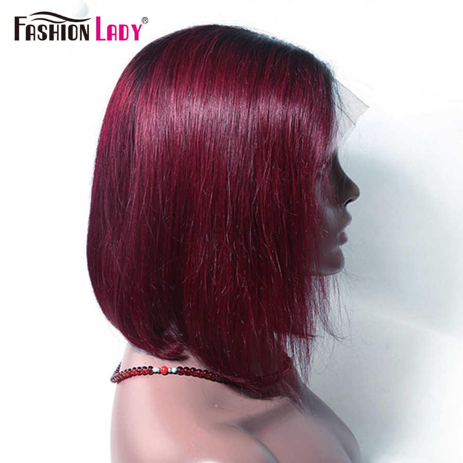 MODE DAME Pre Farbige 1b 99j Spitze Front Menschliches Haar Perücken Brasilianische Gerade Ombre Bob Spitze Front Perücken Rot Menschliches haar Perücke
