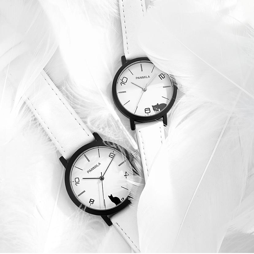 Women Big Small Dial Quartz Watches Classic White Black Cat Faux Leather Watch Men Couple Waterproof Wristwatch Clock