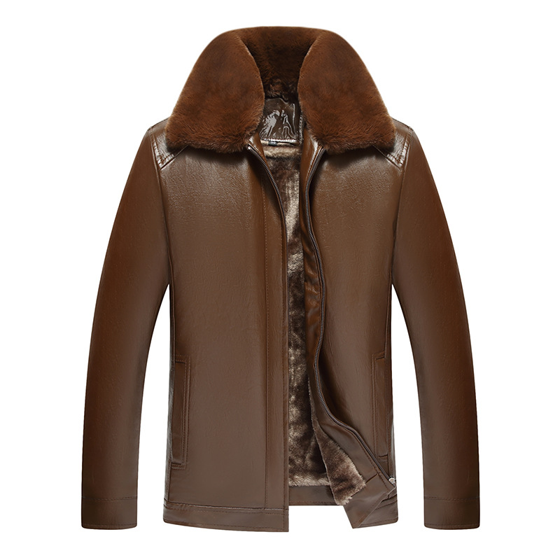 2019 New Style Men's Middle-aged Leather Coat Fur Collar Zipper PU Leather Jacket Brushed And Thick Winter Daddy Clothes Warm Co