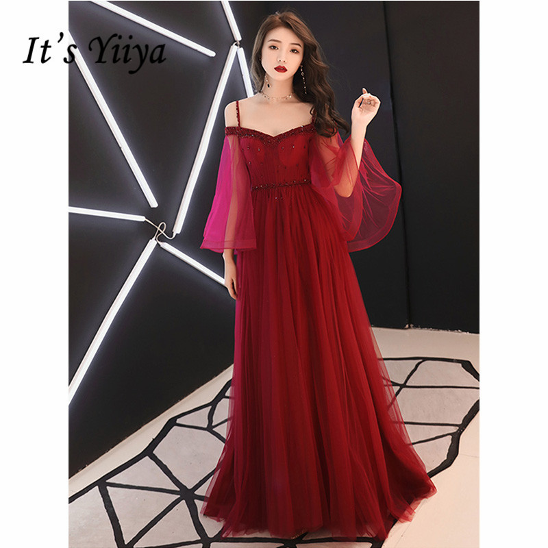 It's Yiiya Evening Dress 2019 Elegant Flare Sleeve Spaghetti Strap Burgundy A-Line Dresess Lace Up Long Party Formal Gowns E1069