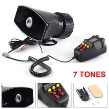 12 v 100 w 120-150db 7 som sirene de advertência eletrônico do carro alarme da motocicleta bombeiros ambulância altifalante com microfone para carro