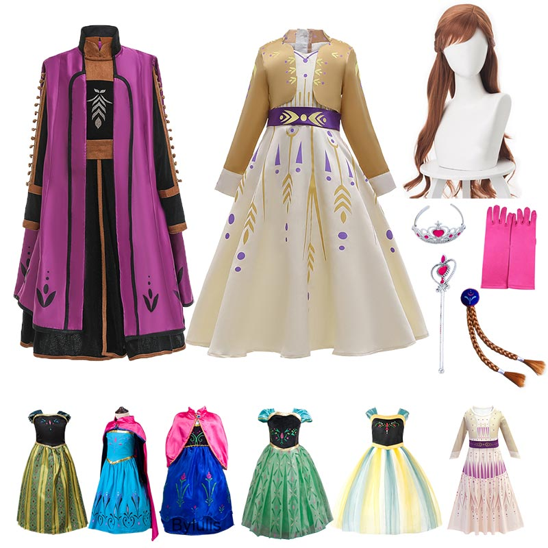 Princess Anna Dress Cosplay Costume For Girls Carnival Kids Clothes Halloween Birthday Fancy Snow Queen Dresses Party