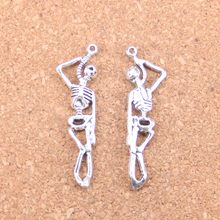 54pcs Charms skeleton man halloween 42x8mm Antique Pendants,Vintage Tibetan Silver Jewelry,DIY for bracelet necklace