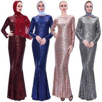 Ramadan Elegant Women Muslim Sequins Long Sleeve Maxi Dress Dubai Abaya Kaftan Formal Party Mermaid Robe Dubai Clothing Dresses
