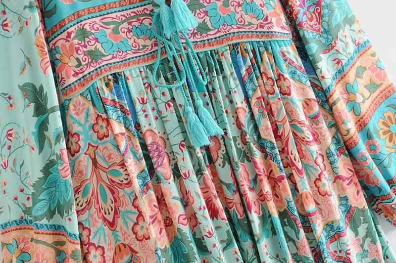 Vintage chic femmes gland rouge imprimé fleuri plage longue bohème Maxi robe dames rayonne coton plissé Boho robe vestidos