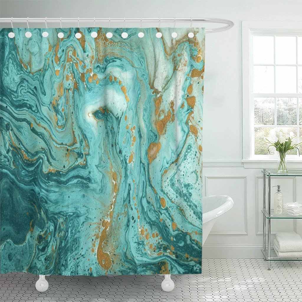 Green Beautiful Abstract Golden And Turquoise Mixed Paints Marble Shower Curtain Waterproof Fabric 72 X 78 Inches Set With Hooks Shower Curtains Aliexpress