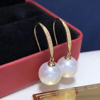 D119 Fine Jewelry Pure 18 K White Gold Natural Fresh Water 9-10mm White Pearl Earrings for Women Fine Pearl Earrings 1