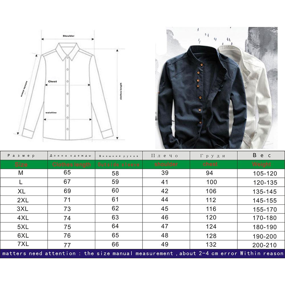 Men's Cotton Linen Shirts Long Sleeve Men Casual Slim Mandarin Collar Shirts High Quality Summer Beach Shirt plus size 6xl 4