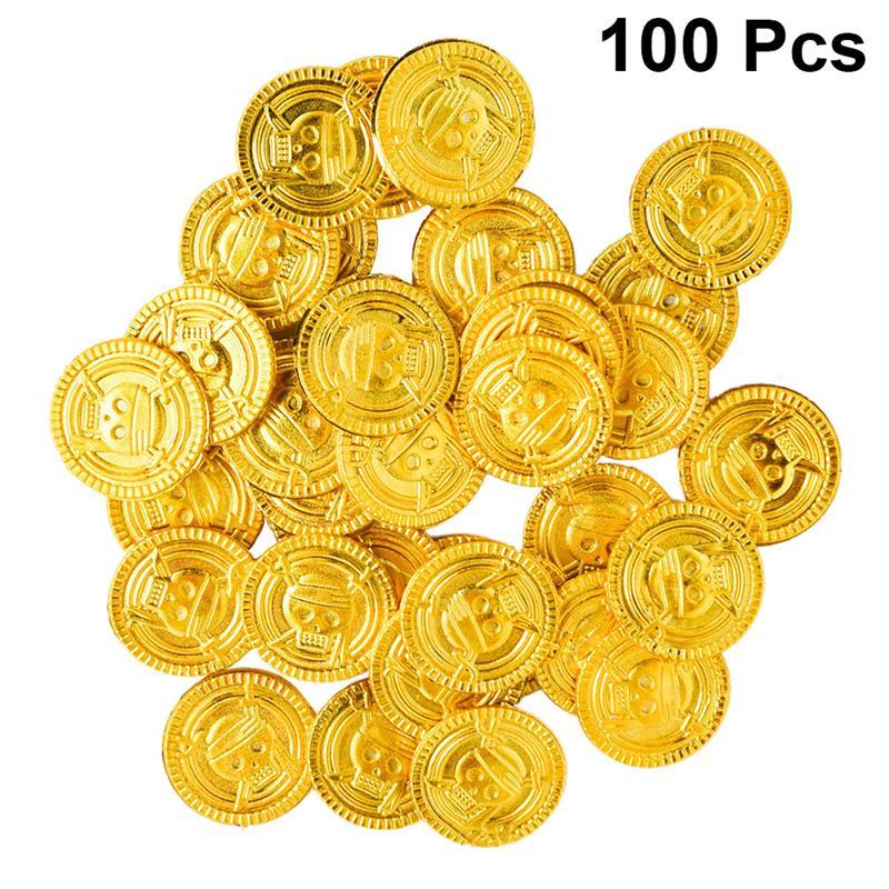 100 pçs piratas moedas de ouro moedas de plástico tesouro jogar dinheiro brinquedo jogo adereços playset goodie saco enchimentos festa favor para crianças|Moedas sem valor monetário|   -