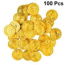 100 pçs piratas moedas de ouro moedas de plástico tesouro jogar dinheiro brinquedo jogo adereços playset goodie saco enchimentos festa favor para crianças