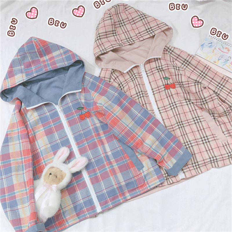 Early Spring Women Soft Sister Small Fresh Cherry Embroidery Jacket Young Girl Two sides Wear Hooded Plaid Coat College Style image