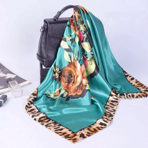 Image 5 - Silk Scarf Women Print hair neck Square Scarves Office Ladies Shawl Bandanna 90*90cm Muslim Hijab Handkerchief muffler foulard