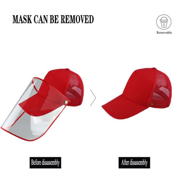 Detachable Anti-Saliva Protective Hat Cover Outdoor Baseball Hat Adjustable Unisex Peaked Cap Protective Face Shield Cover 1
