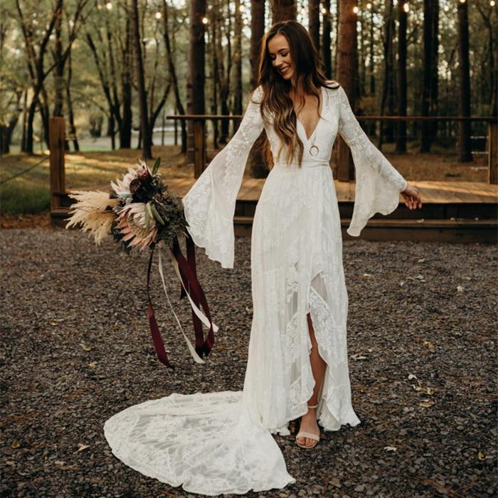 2020  New Arrivals Lace Wedding Dresses Deep V-neck Flare Sleeve Split Long Train Countryside Wedding Gowns Robe De Mariee