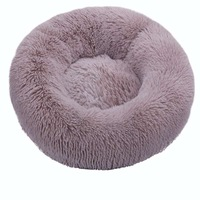 Light coffee-Round Cat Beds House Soft Long Plush Best Pet Dog Bed For Dogs Basket Pet