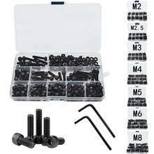 Hex hexágono soquete cabeça tampa parafuso porca 12.9 grau de aço carbono m2 m2.5 m3 m4 m5 m6 m8 parafuso preto conjunto parafuso e porca sortimento kit