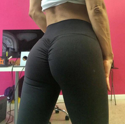 [] 2018 Hot Selling Women's Solid Color Buttock Lifting High-waisted Moisture Absorption Yoga Sports Leggings