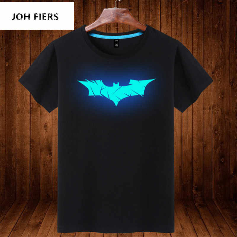 Batman Costume Summer Top Glow in Dark Batman T Shirt Streetwear Geek Mens Clothing Neon Clothes Cartoon Shirt Tee Shirt Homme