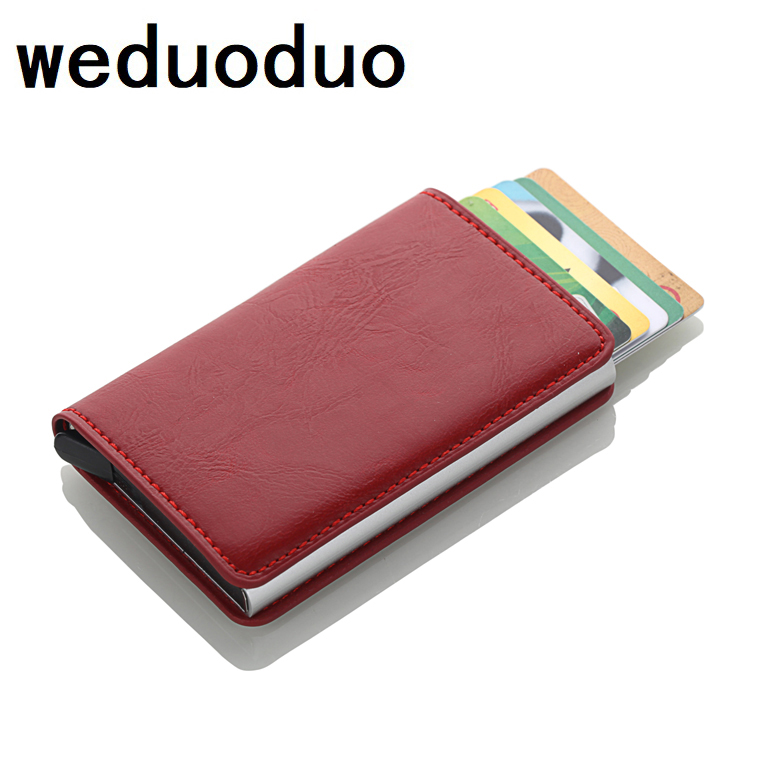 2019 Aluminium Business Card Holder Men And Women Credit Card Holder RFID Crazy Horse PU Leather Travel Card Wallet