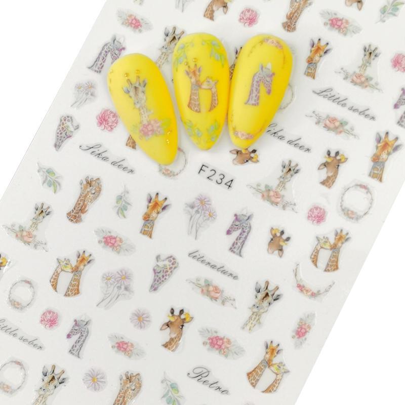 1 лист, 3D наклейки для ногтей, клейкие наклейки, цветы, листья, геометрия, фрукты, десерт, дизайны, слайдеры, тату, маникюрные украшения