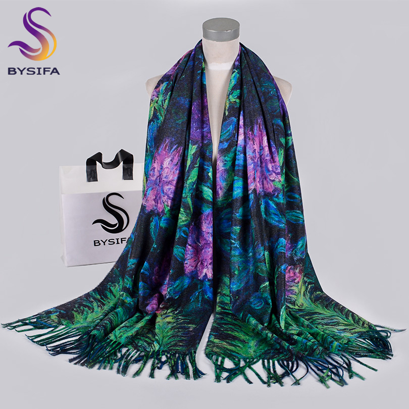 [BYSIFA]Winter Blue Purple Women Scarves Shawls Wraps 2019 New Design Luxury Spring Fall Neck Scarf Hijab Warm Cashmere Pashmina