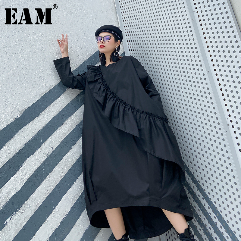 [EAM] Women Black Rufflefs Split Big Size Dress New Round Neck Long Sleeve Loose Fit Fashion Tide Spring Autumn 2020 1R788