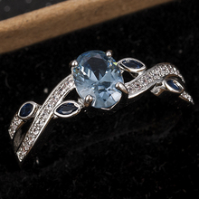 Fashion Silver Wedding Rings Women Jewelry Deep Blue Crystal White Rhinestone Free Ship Size 6-10 Engagement Ring