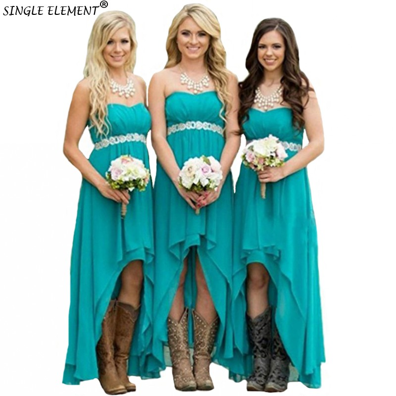 SINGLE ELEMENT Fashion High Low Turquoise Chiffon Bridesmaid Dresses