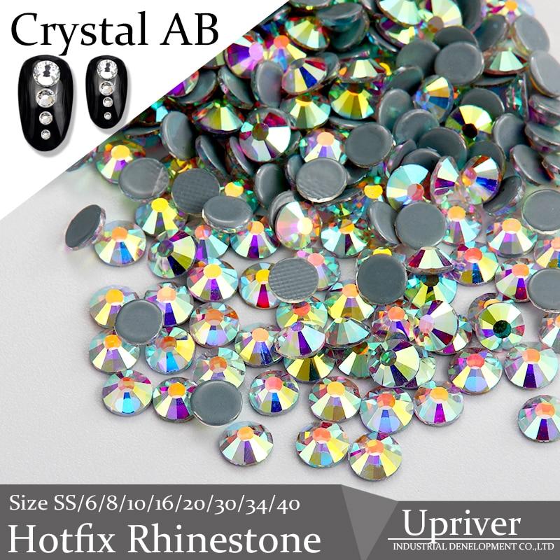 En amont de haute qualité A + + grand emballage cristal AB fer sur strass SS4-SS30 Hotfix strass Grade pour les choses de bricolage de luxe