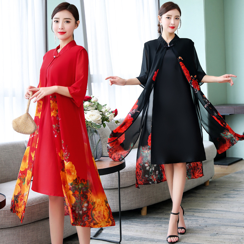 2019 New Style Spring Clothing Women's Fashion Two Pieces Dress Outfit Large Size Important Mulberry Silk Silk Dress