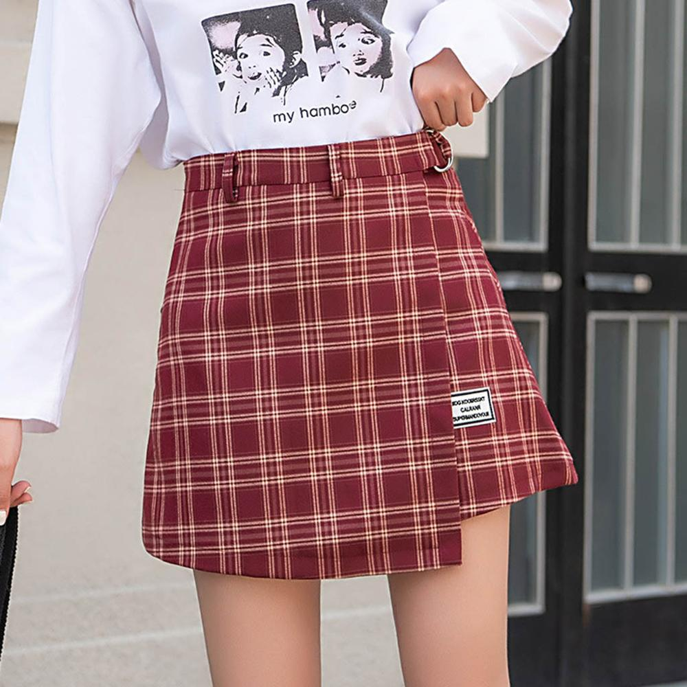 Plus Size Harajuku Short Skirt New Korean Plaid Skirt Women Zipper High Waist School Girl Pleated Plaid Skirt Sexy Mini Skirt#17