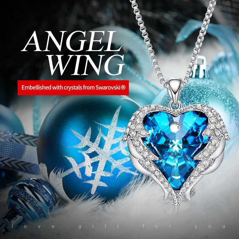 Cdyle collar de Material de cobre de moda para mujeres con alas de Ángel de cristal coloridas collar con colgante de corazón regalo de fiesta de cumpleaños