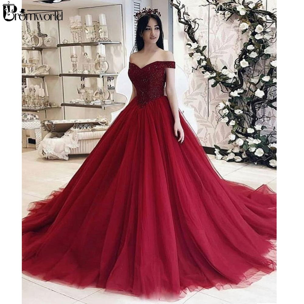 Vestidos 15 Anos De Baile Burgundy Ball Gown Quinceanera Dresses Classic Off The Shoulder Beading Tulle Prom Dresses Long 2020