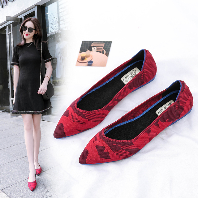 Roman Hot Design Mixed Colors Pointed Toe Slip on Mules Women Single Shoes Microfiber Knitted Flats Femme 34 44 Ballet  Lady