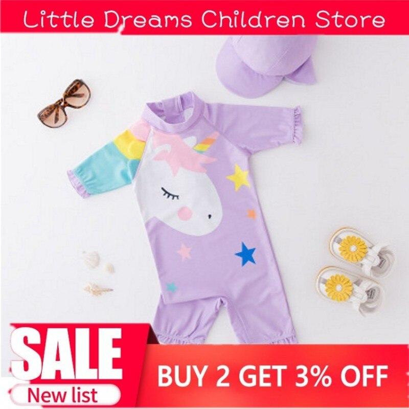 Boy Baby Swimwear+Hat 2Pcs Set Surfing Wear Unicorn Swimming Suit Infant Toddler Swimwear Kids Sunscreen Beach Bathing Suit