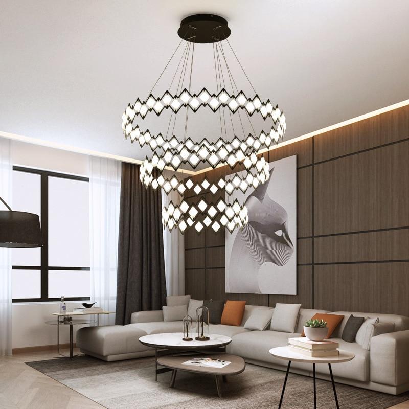 Postmodern Simple Black/White LED Pendant Lights Iron Round Living Room Fixtures For Nordic Bedroom Restaurant Art Hanging Lamp